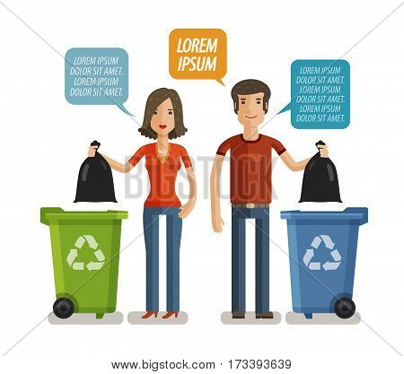 Garbage can, waste bin, trash container, dumpster infographic. Keep clean or do not litter, concept. Cartoon