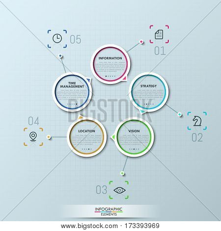 Modern infographic design layout, 5 numbered circular elements with arrows and text boxes. Closed cycle of production, stages of business process concept. Vector illustration for report, website.
