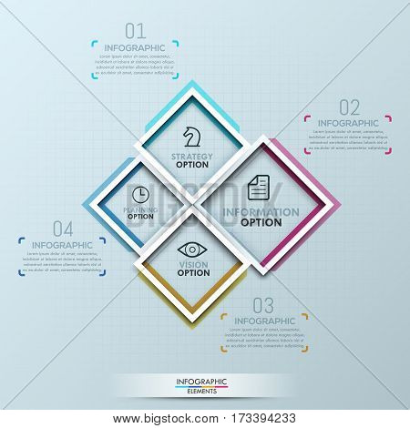 Creative infographic design template: 4 numbered squares of different sizes with text boxes. Elements of business process, features of project concept. Vector illustration for banner, website, report.