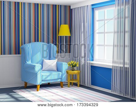 Vintage striped interior with armchair and lamp. 3d illustration.
