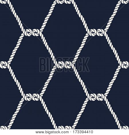 Seamless nautical rope pattern. Endless navy illustration with white fishnet ornament. Marine half knots on dark blue backdrop. Trendy maritime style background. For fabric, wallpaper, wrapping