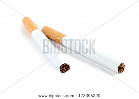 Tobacco cigarettes isolated on a white background