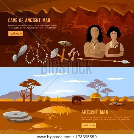 Cave man and cave woman banner. Stone age neanderthal family in a cave prehistoric tool. Neolithic paleolith mesolith beginning of a civilization. Caveman art