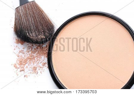 Makeup Powder And Brush On White Background