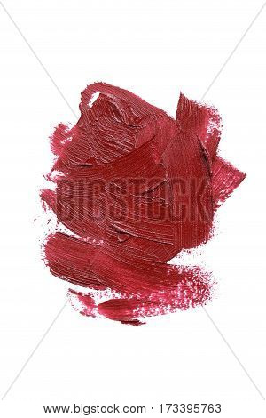 Stroke Of Lipstick On A White Background