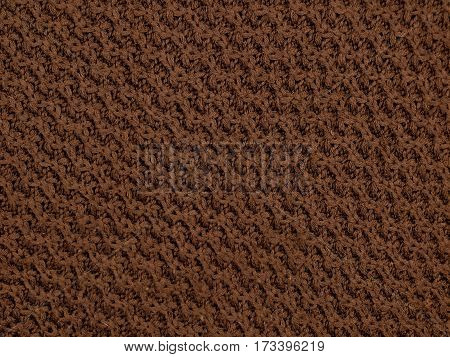 background texture of a knitted yarn with brown pattern