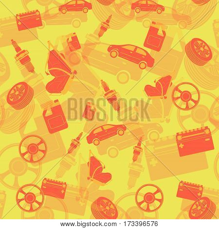 Auto mechanic service seamless background of maintenance car repair and working.. Vector illustration.