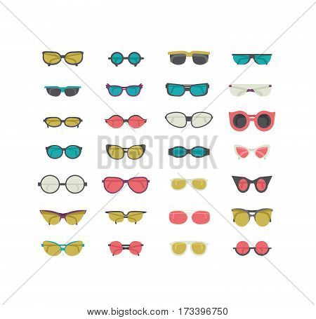 Fashion set with colorful sunglasses isolated on white. Vector illustration in blue green and pink. Women and unisex sunglasses in casual sport and elegant style. Flat icons collection in a row.