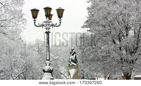 Sculpture to famous russian poet Lermontov in winter park in Pyatigorsk, Caucasus,Russia.