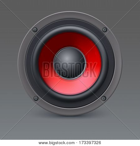 Audio loud speaker with red diffuser isolated on gray background. Vector illustration, eps10