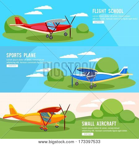 Flight on biplane banners flying competitions of airplanes and biplanes excursion flights