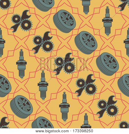 Car seamless pattern of motor vehicle parts spark plug wheels and tools. Vector illustration.