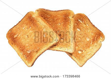 Slices of toasted bread isolated on white background