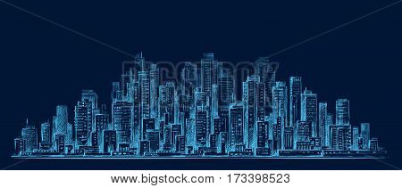 City Skyline Panorama At Night, Hand Drawn Cityscape, Drawing Architecture Illustration