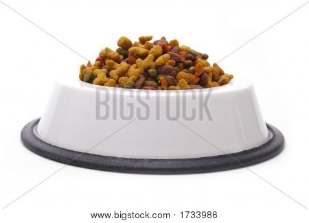 Dog dish full of healthy kibble isolated over white. poster