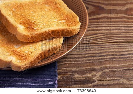 Slices of toasted bread in plate on wooden table close up