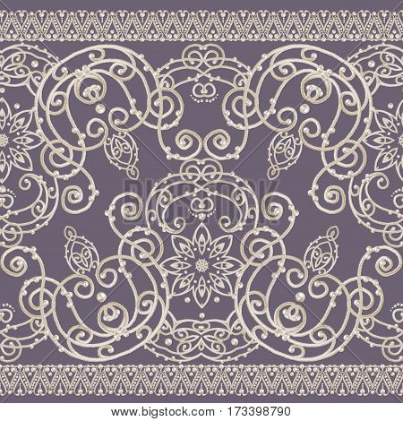 Lace background. Abstract square geometric lace pattern with ornate frame tribal ethnic ornament. Openwork texture curls beads pearls. Bandanna scarf shawl. Seamless pattern.