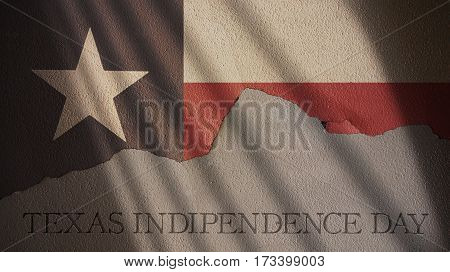 Texas Independence Day. Flag and Cracked Wall