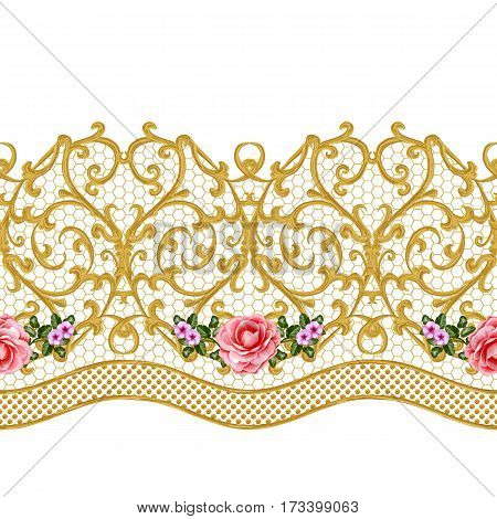 Seamless pattern. Golden textured curls. Oriental style arabesques. Openwork weaving delicate lace golden background. Flower arrangement of pink roses and white flowers.
