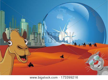 A futuristic lunar landscape. Weekend on the moon. Vector illustration