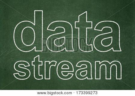 Information concept: text Data Stream on Green chalkboard background
