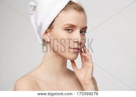 bautiful girl in white bathrobe gets enjoy