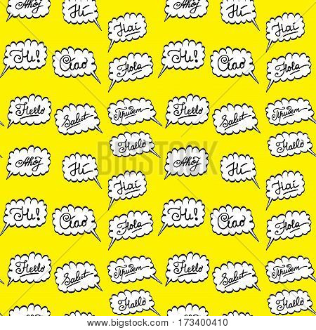 Hello In Different Languages- Seamless Pattern,
