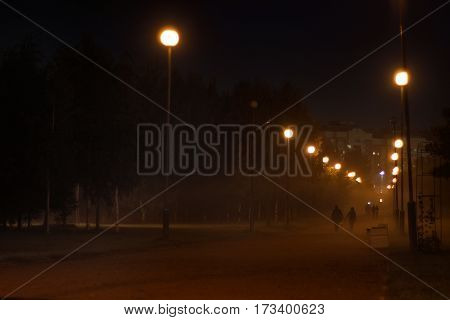 Misty alley, lamps, receding into the distance couple holding hands