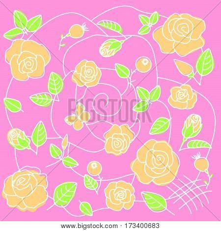 Stylized floral pattern on pink background from the chamois roses
