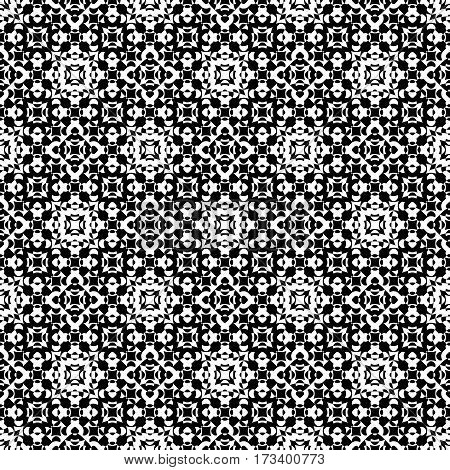 Vector seamless pattern. Abstract ornamental black & white texture, repeat geometric tiles. Endless specular monochrome background. Design element for prints, decoration, digital, web, textile, cover