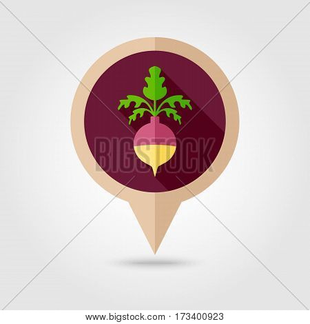 Rutabaga or Swede flat vector pin map icon. Map pointer. Map markers. Vegetable root vector illustration
