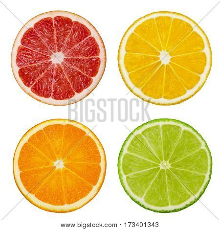 Slices of orange pink grapefruit lemon and lime fruits isolated on white background. Clipping path