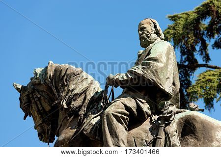 VERONA ITALY - SEPTEMBER 17 2016: Monument of Giuseppe Garibaldi (general patriot leader and Italian writer 1807-1882) on horseback - bronze statue in Verona Veneto Italy