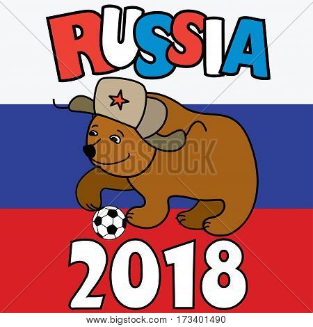 Cartoon Bear with soccer ball wearing a Russian hat earflaps, russian flag on background, vector