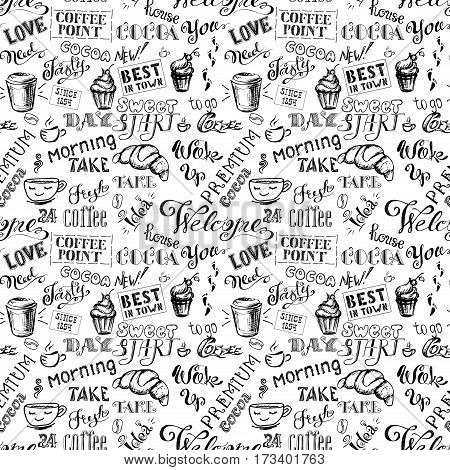 Coffee seamless pattern with lettering, cocoa lettering hand drawn on black background, stock vector illustration