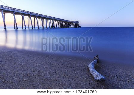 Pier on the coast of the Caspian Sea near Baku.Azerbaijan