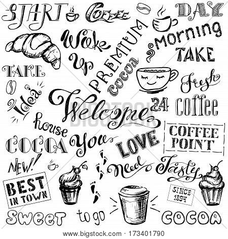 Coffee and cocoa- lettering set , hand drawn on white  background, stock vector illustration
