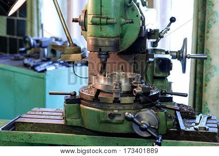 Metal head of machine for drill on factory