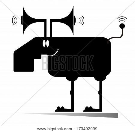 Cartoon elk or deer concept illustration. Cartoon elk or deer with megaphones instead of horns and antenna instead of tail
