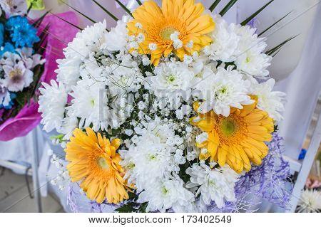 Bunch Of Fresh Yellow Gerbera Chamomile And Big White Chrysanthemum Flower