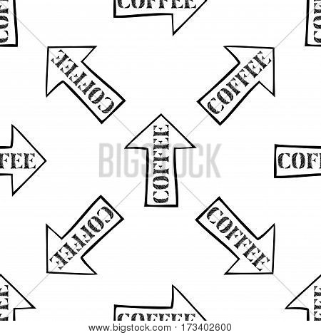 coffee with arrow seamless pattern , hand drawn typography design, stock vector illustration