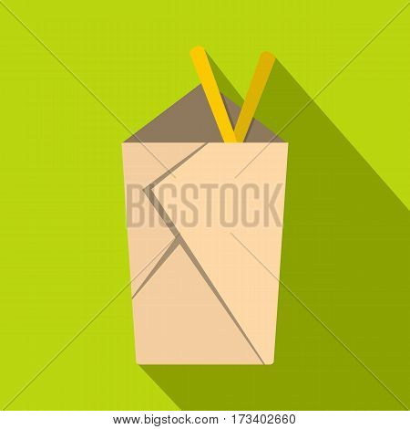 Chinese take out box with chopsticks inside icon. Flat illustration of chinese take out box with chopsticks inside vector icon for web isolated on lime background
