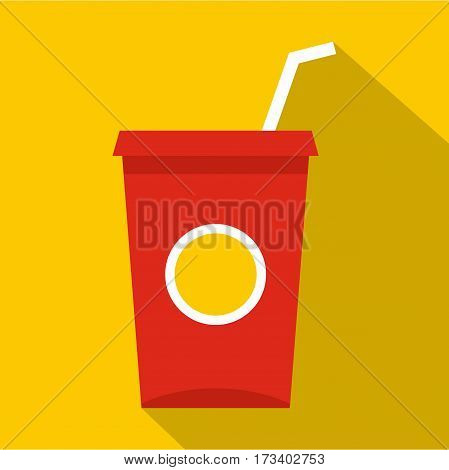 Soft drink in a red paper cup with lid and straw icon. Flat illustration of soft drink in a red paper cup with lid and straw vector icon for web isolated on yellow background