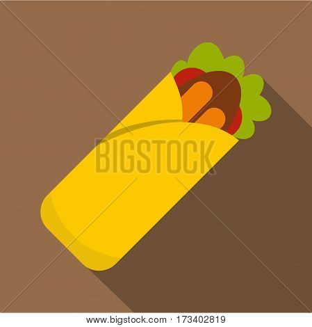 Doner kebab icon. Flat illustration of doner kebab vector icon for web isolated on coffee background