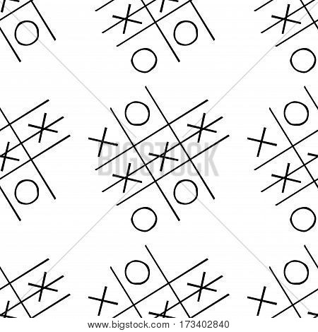 tic-tac-toe competition seamless pattern, hand drawn, stock vector illustration