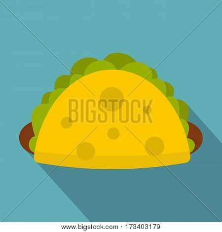 Tortilla wrap with vegetables icon. Flat illustration of tortilla wrap with vegetables vector icon for web isolated on baby blue background