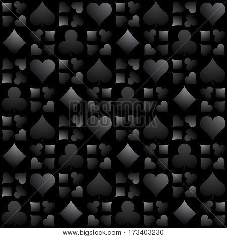 Seamless casino gambling black background with poker symbols vector illustration. Ideal for printing onto fabric and paper or scrap booking