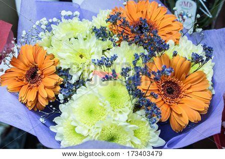 Bunch Of Fresh Orange Gerbera Chamomile With Yellow Chrysanthemum Flower