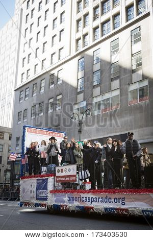 NEW YORK - 11 NOV 2016: Americas Parade float, produced by the United War Veterans Council UWVC for the parade up 5th Avenue on Veterans Day in Manhattan.