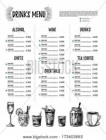 Hand Drawn Vector Illustration - Bar Menu. Template Of Restaurant Menu With Illustrations In Sketch
